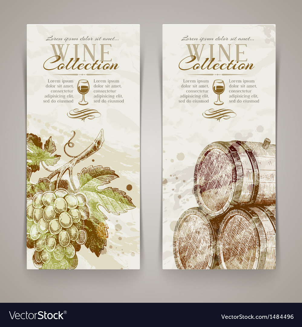 Wine and winemaking - vintage vertical banners vector | Price: 1 Credit (USD $1)