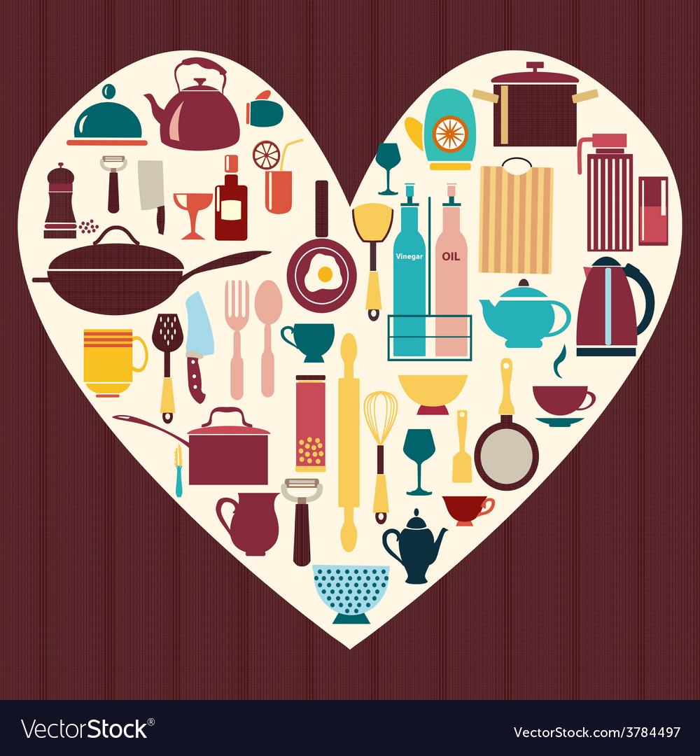 All kitchen goods restaurant icon kitchenware vector | Price: 1 Credit (USD $1)