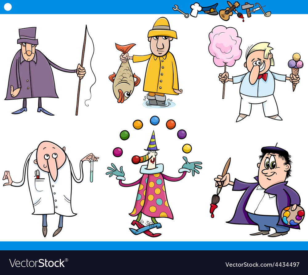 Cartoon people occupations characters set vector | Price: 1 Credit (USD $1)