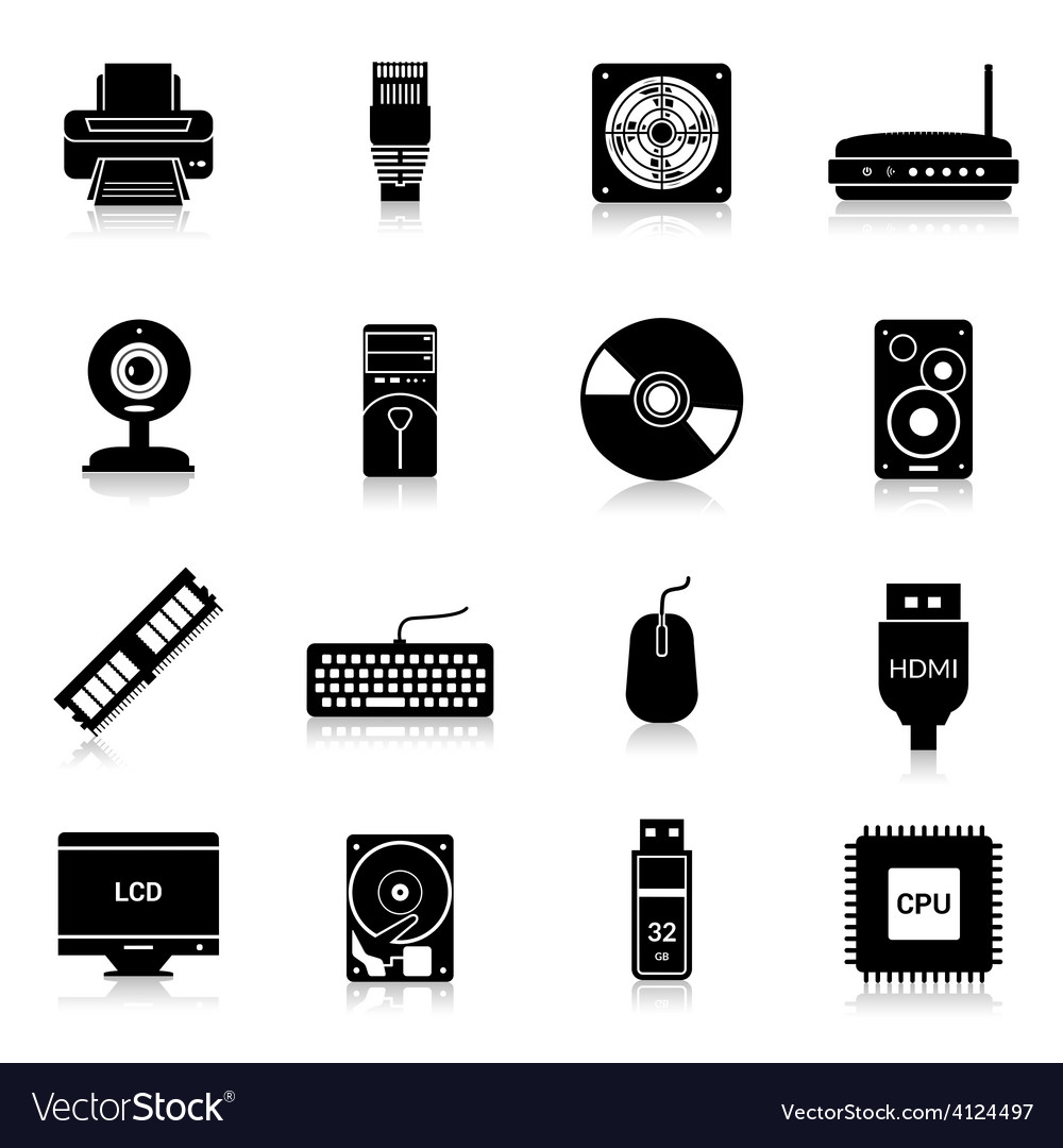 Computer parts icons black vector | Price: 1 Credit (USD $1)