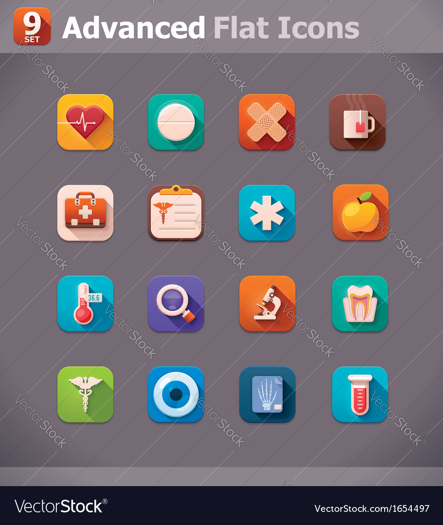 Flat medicine icons vector | Price: 1 Credit (USD $1)