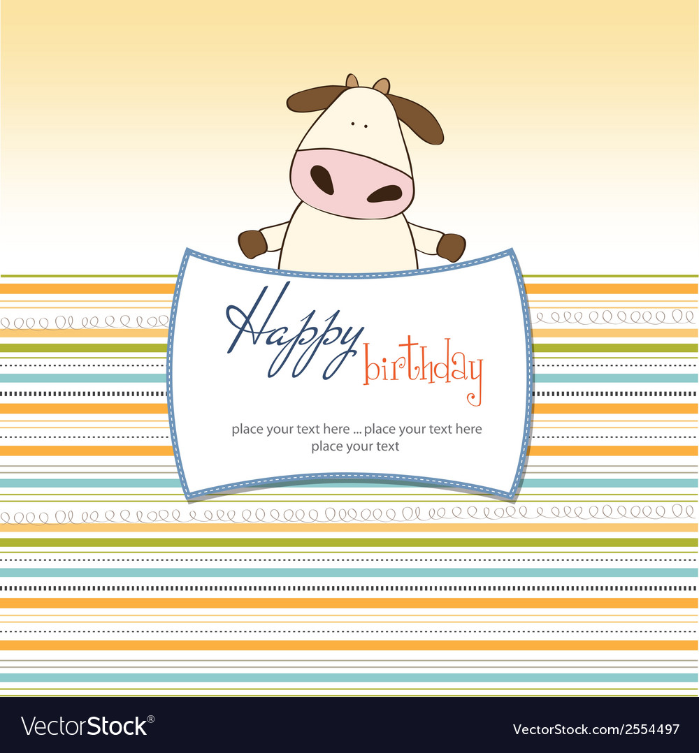 Fun greeting card with cow vector   Price: 1 Credit (USD $1)