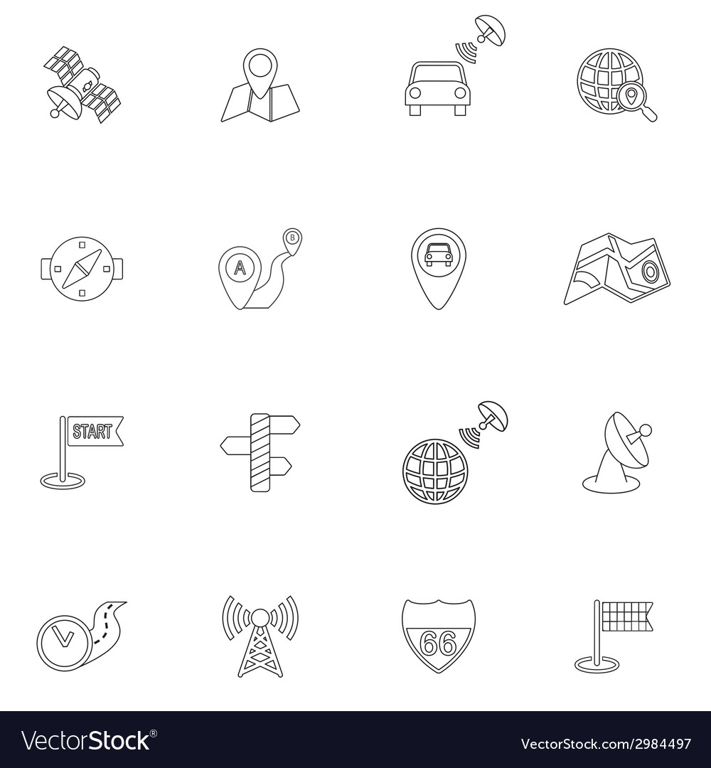 Mobile navigation icons outline vector | Price: 1 Credit (USD $1)