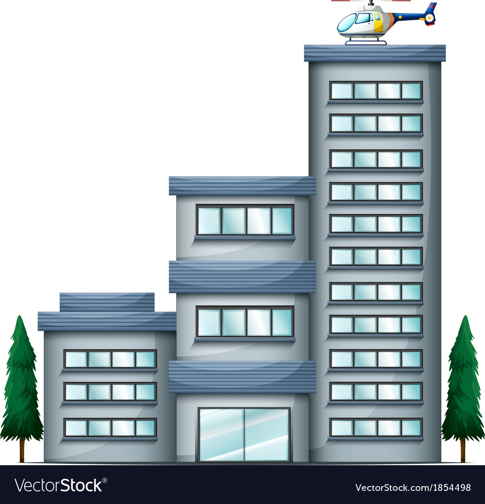 A helicopter above the tall building vector | Price: 1 Credit (USD $1)