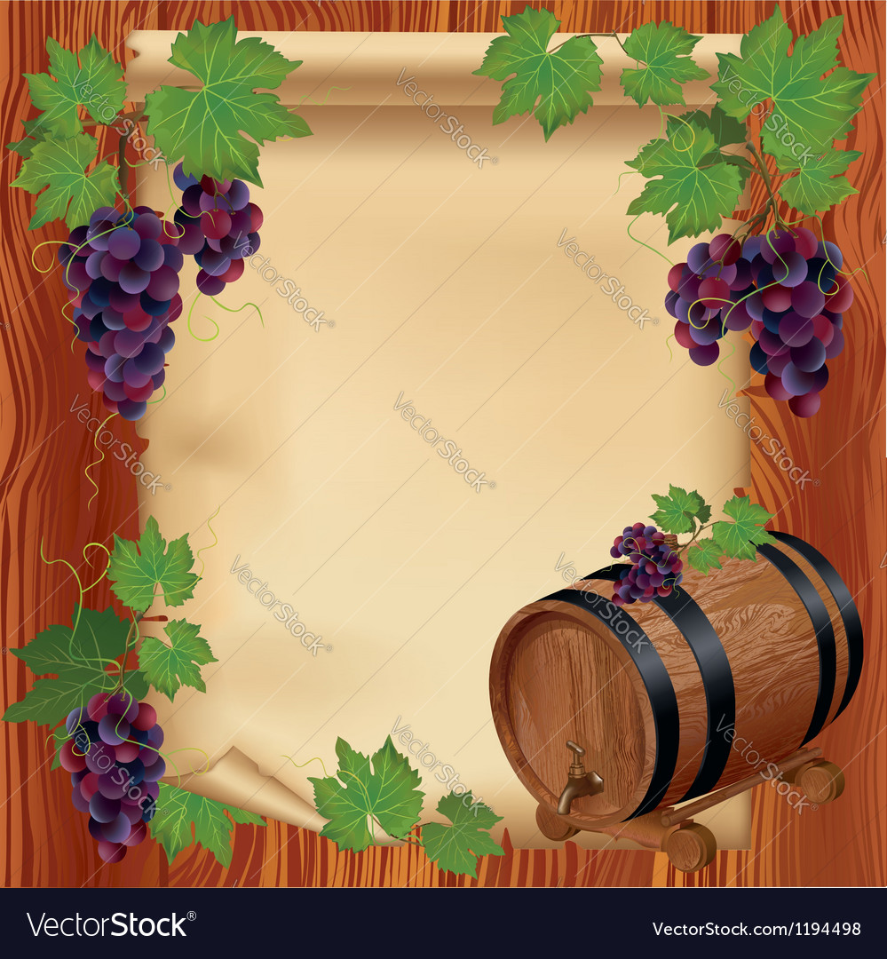 Background with grape barrel and paper on wood vector | Price: 3 Credit (USD $3)