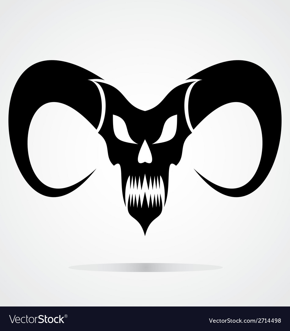 Black demon skulls vector | Price: 1 Credit (USD $1)