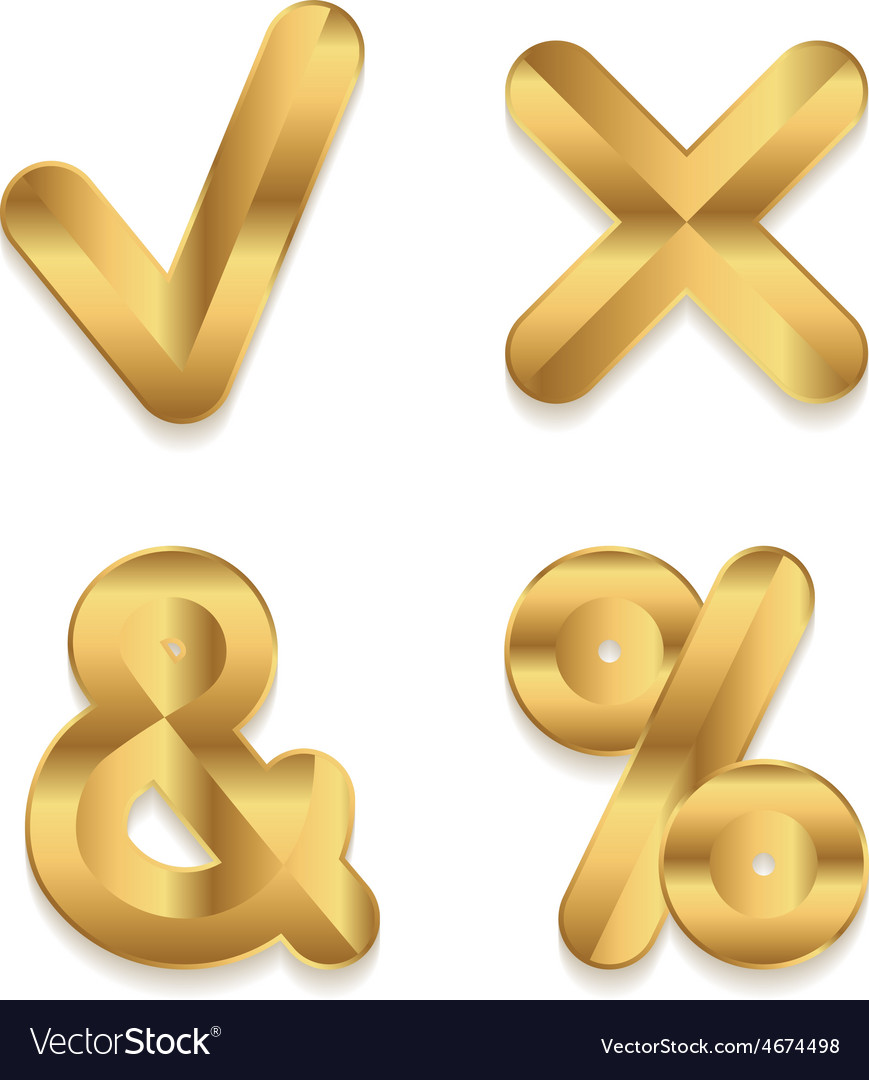Golden alphabet set of metallic 3d punctuation vector