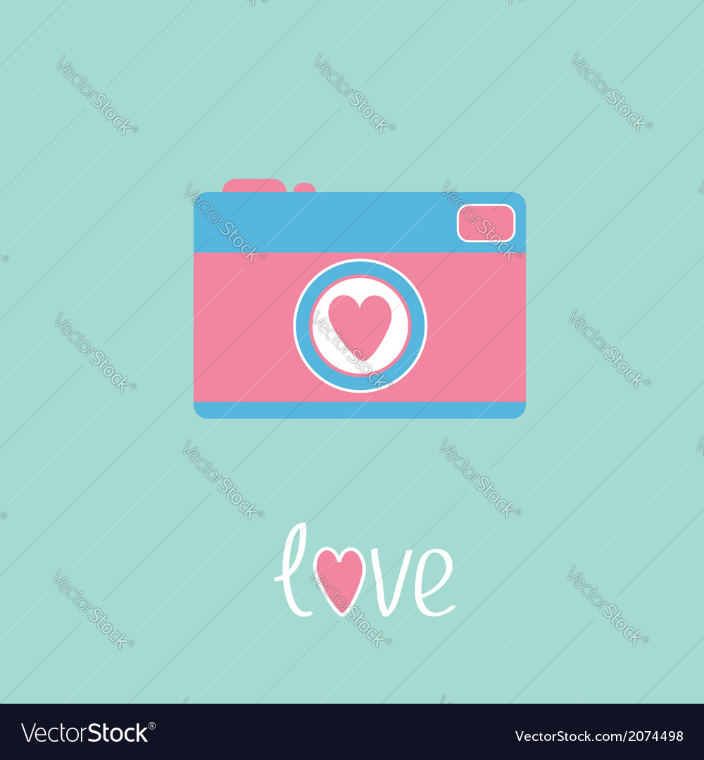 Photo camera with heart love card vector | Price: 1 Credit (USD $1)