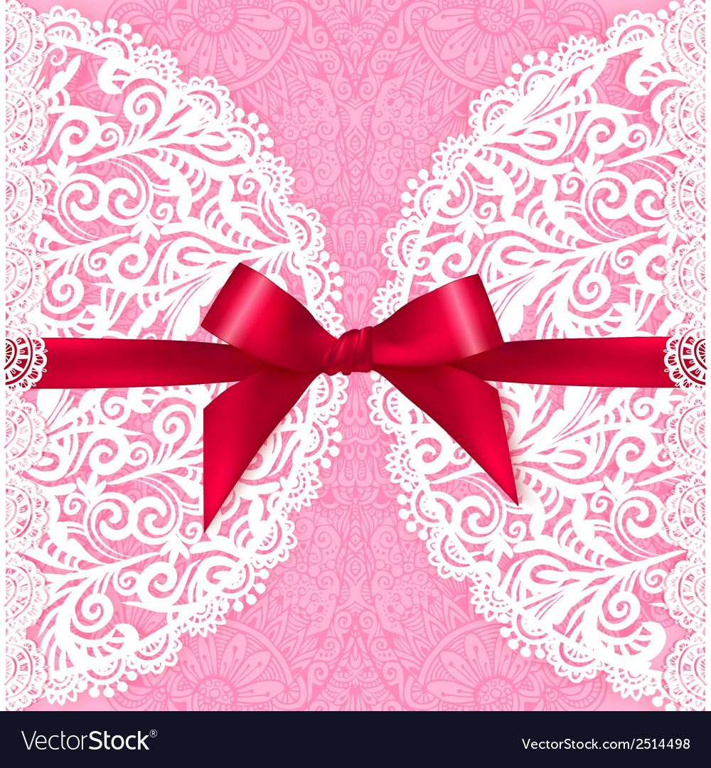 Pink lacy wedding card template vector | Price: 1 Credit (USD $1)