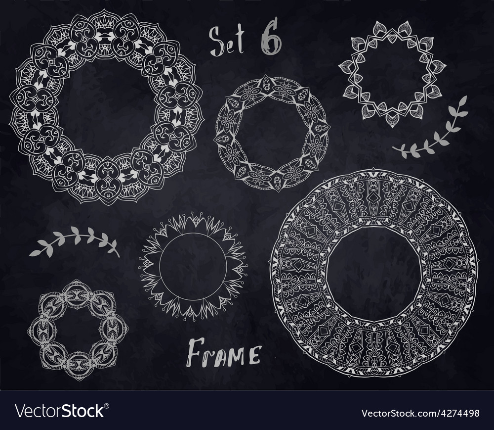 Set hand drawn elements frame vector | Price: 1 Credit (USD $1)