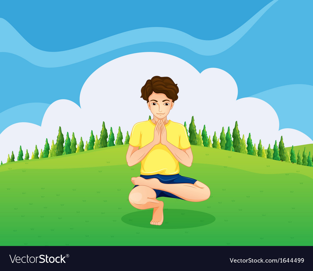 A handsome young boy doing yoga in the hill vector | Price: 1 Credit (USD $1)