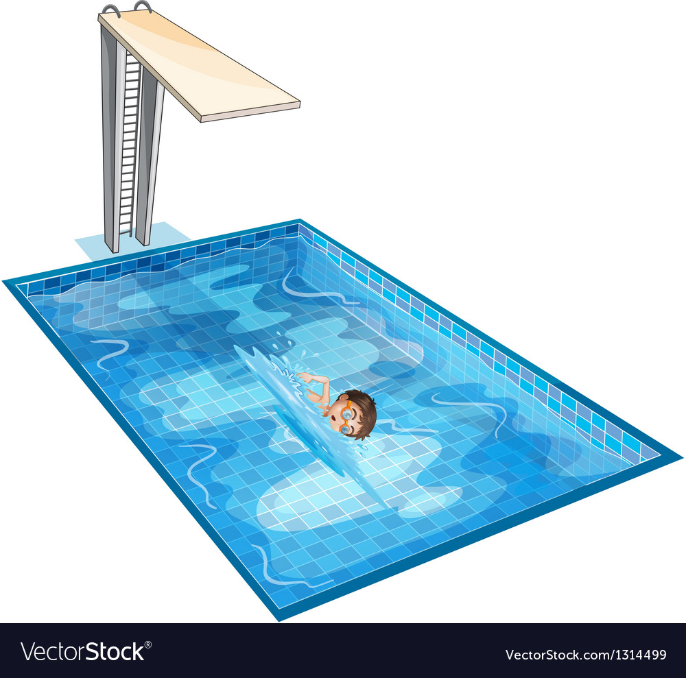A swimming pool with a young boy vector | Price: 1 Credit (USD $1)