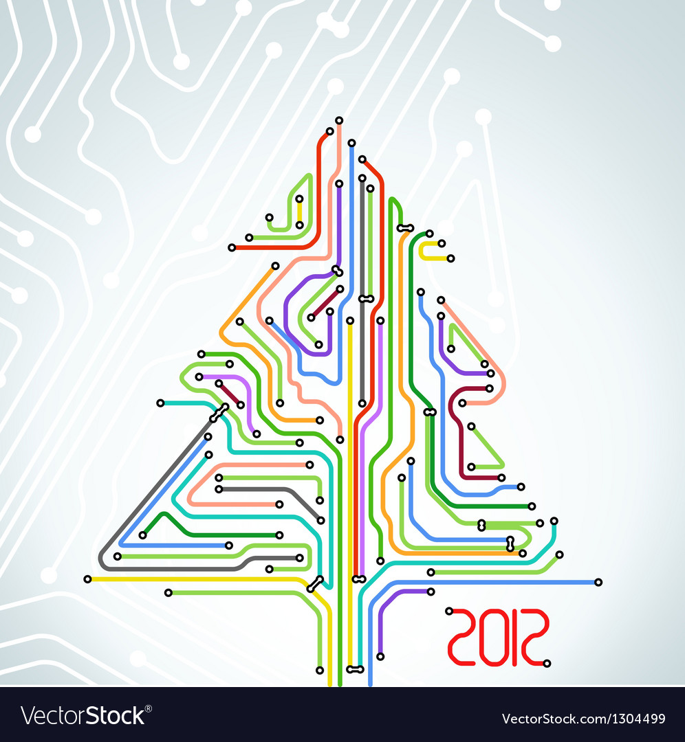Abstract metro scheme christmas card vector | Price: 1 Credit (USD $1)