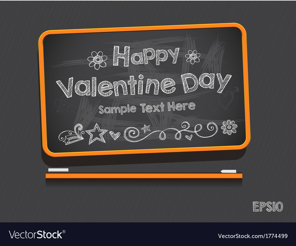 Blackboard valentine s day background vector | Price: 1 Credit (USD $1)