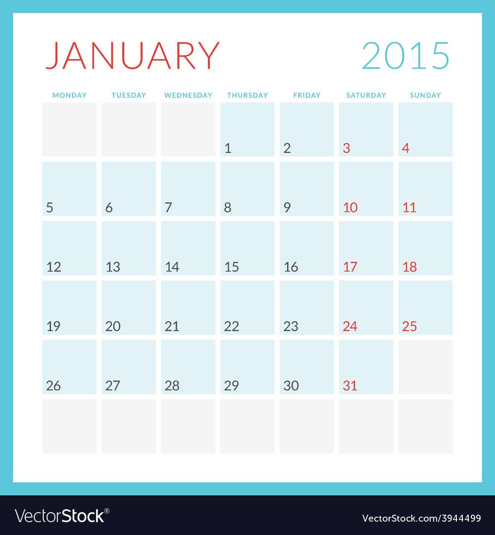 Calendar 2015 flat design template january week vector   Price: 1 Credit (USD $1)