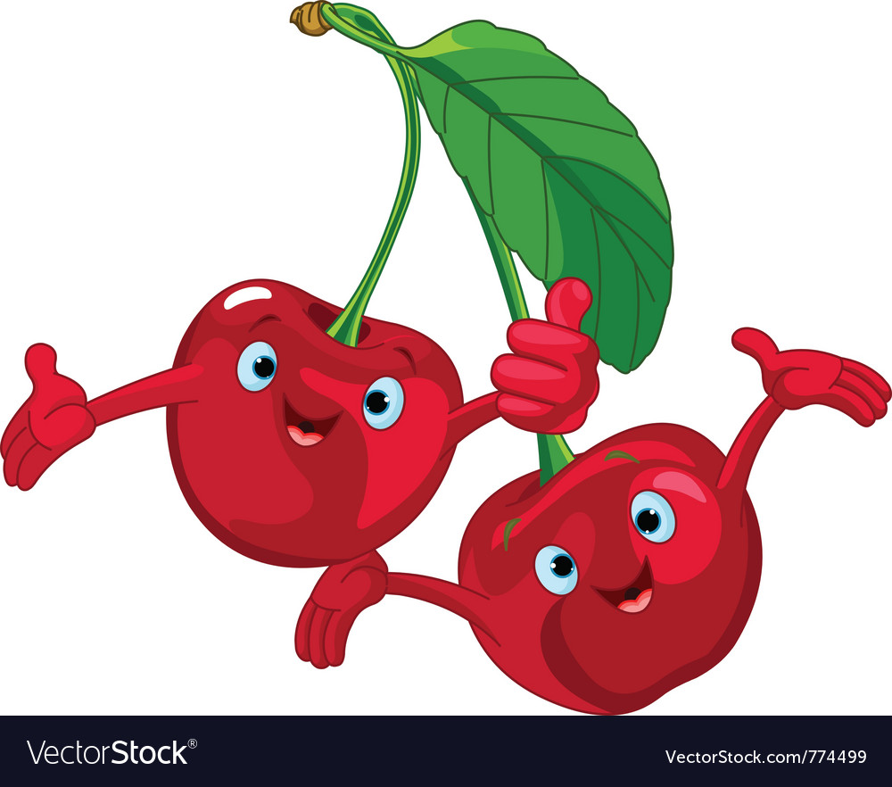 Cartoon cherries character vector | Price: 1 Credit (USD $1)