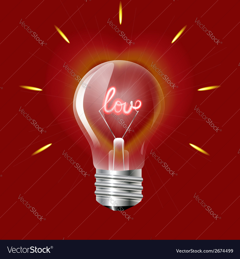 Concept of love in the form of light bulb on a red vector | Price: 1 Credit (USD $1)
