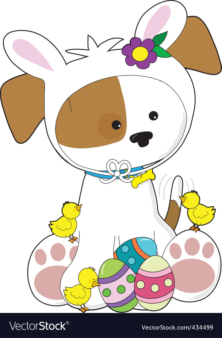 Cute puppy easter vector | Price: 1 Credit (USD $1)