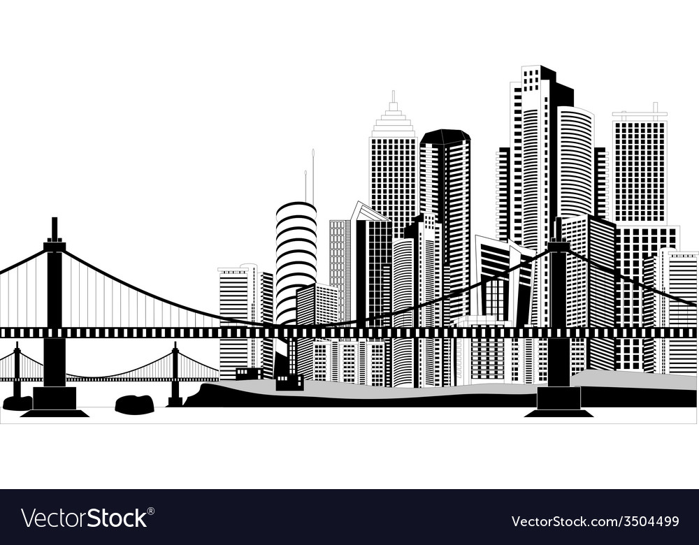 Downtown skyline vector | Price: 1 Credit (USD $1)