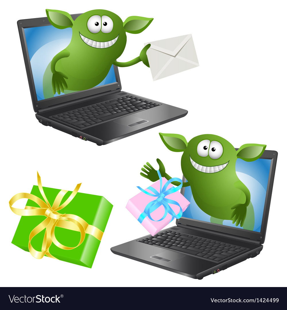 Funny green monsters crawl out of the pc chassis vector | Price: 1 Credit (USD $1)
