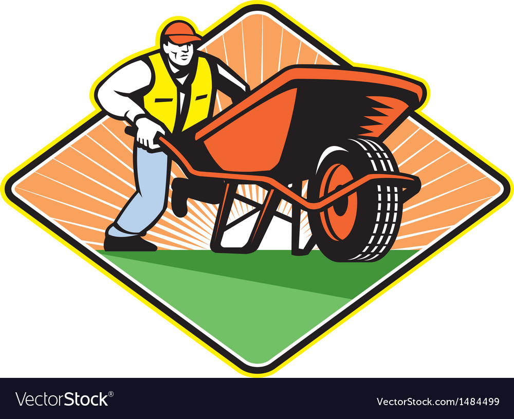 Gardener pushing wheelbarrow retro vector | Price: 1 Credit (USD $1)