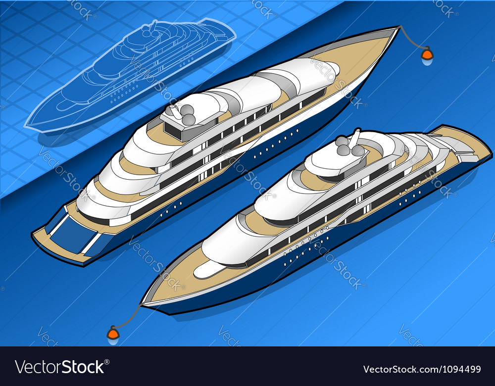Isometric yacht in two positions vector | Price: 3 Credit (USD $3)