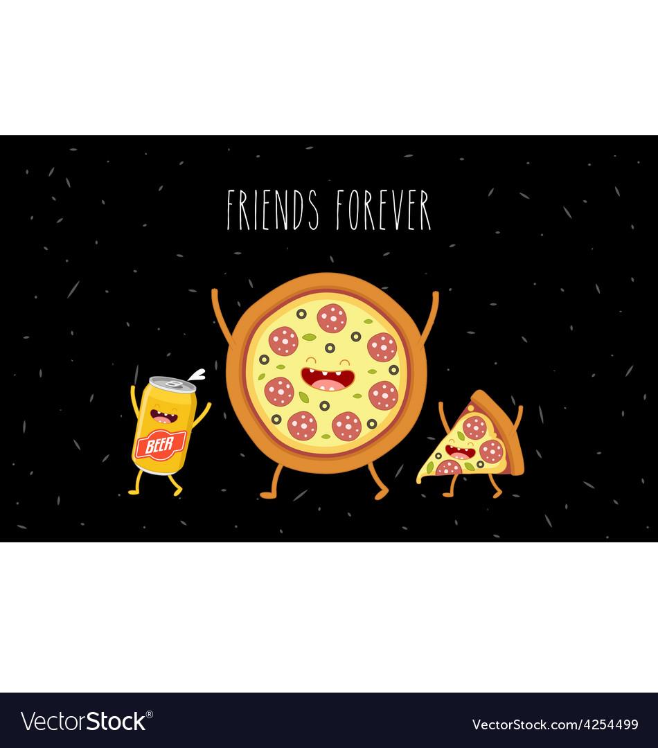 Pizza slice beer vector | Price: 3 Credit (USD $3)