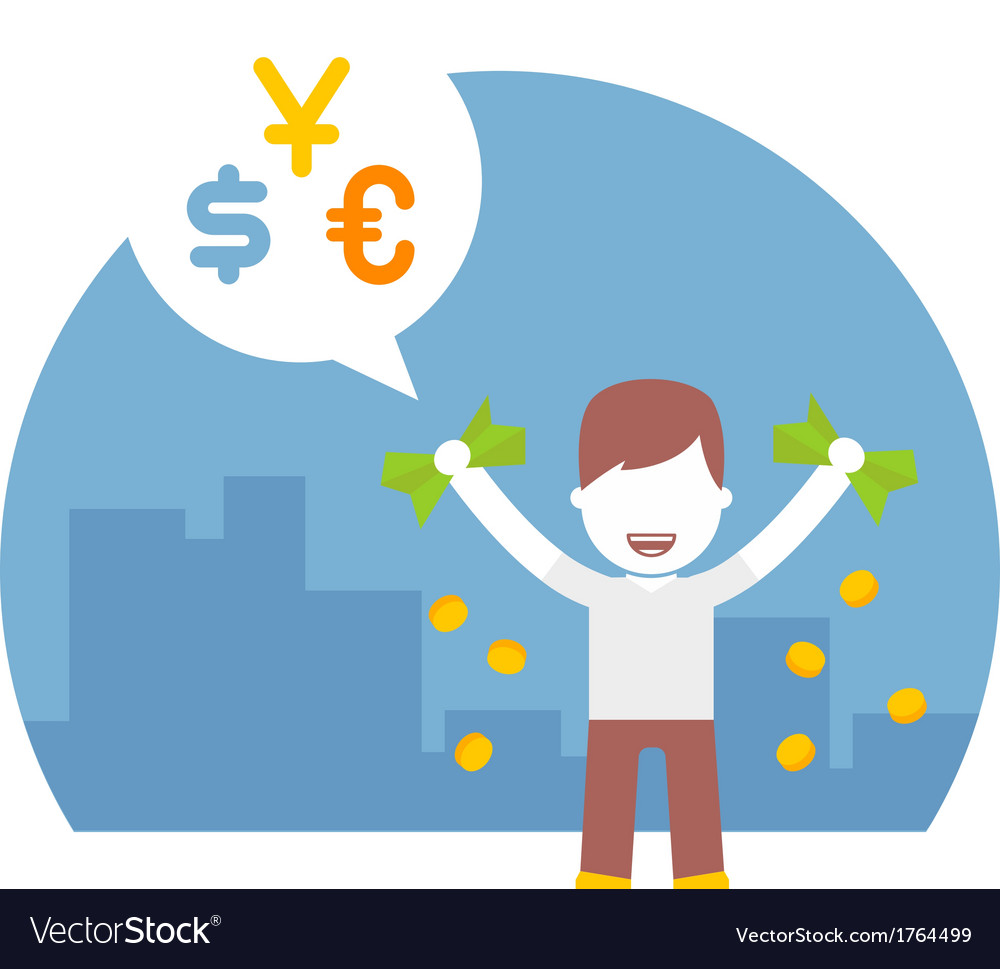 Rich man has a lot of different currencies dollar vector | Price: 1 Credit (USD $1)