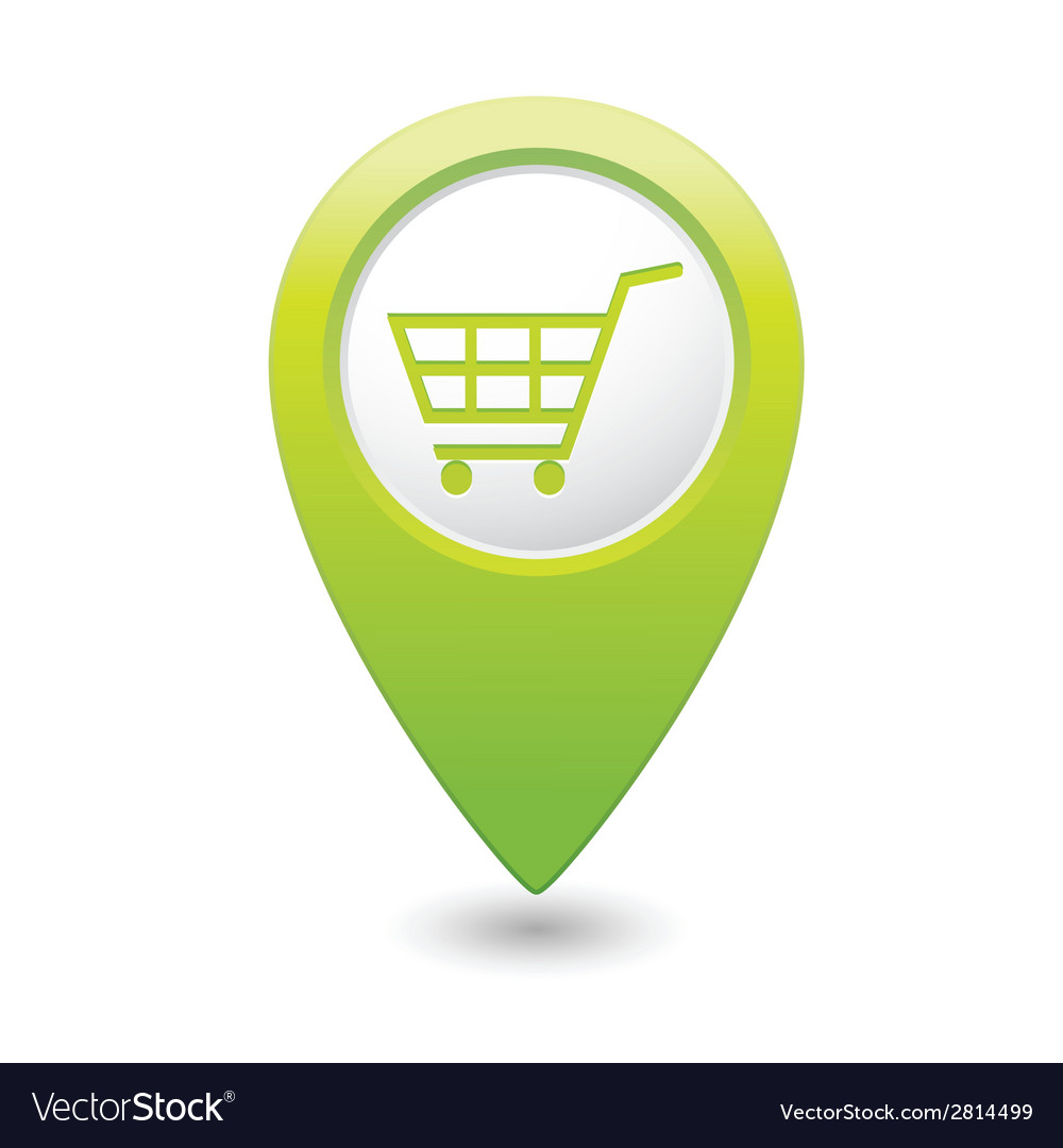 Shop basket icon green pointer vector | Price: 1 Credit (USD $1)