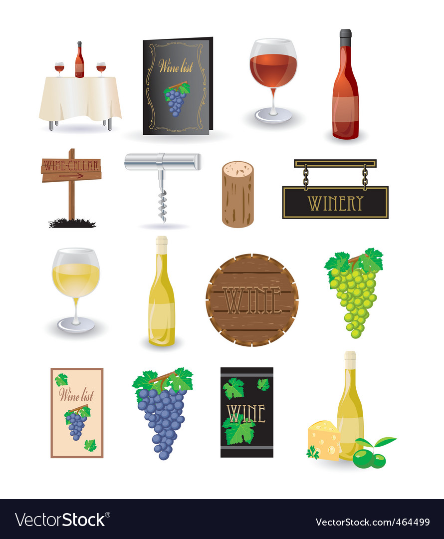 Wine icon set vector | Price: 1 Credit (USD $1)