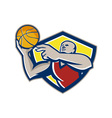 Basketball player laying up ball retro vector