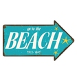 Vintage beach direction sign vector