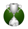 Soccer ball trophy silver cup vector