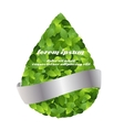 Green eco friendly label from green leaves vector