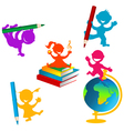 Back to school background with children and books vector