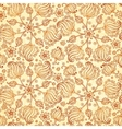 Beige abstract doodle flowers seamless pattern vector