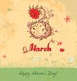 March 8 vintage card vector