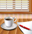 Cup of coffee on a wood table vector