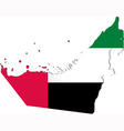 Map of the united arab emirates with national flag vector