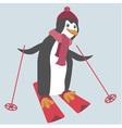Funny penguin is skiing vector