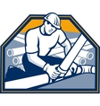 Drainlayer worker laying pipes retro vector