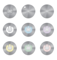 Set of metallic app icons power button vector