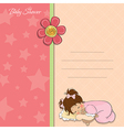 Baby shower card with little baby girl play with vector