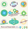 Flower and bouquet labels and stickers vector