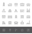 Line icons buildings vector