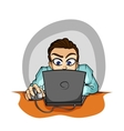 Businessman working on computer vector