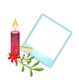 Blank photos with mistletoe and christmas candle vector