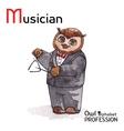 Alphabet professions owl letter m - musician vector