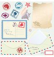 Postcard envelope stamps and paper vector