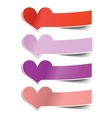 Collection heart sticky notes transparent shadows vector